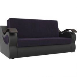Прямой диван АртМебель Меркурий велюр фиолетовый экокожа черный (140)