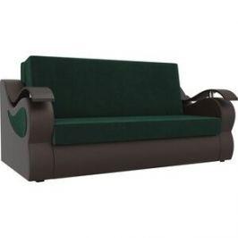 Прямой диван АртМебель Меркурий велюр зеленый экокожа коричневый (100)
