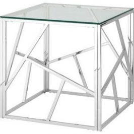 Журнальный стол Stool Group Арт деко прозрачное стекло/сталь серебро EET-015