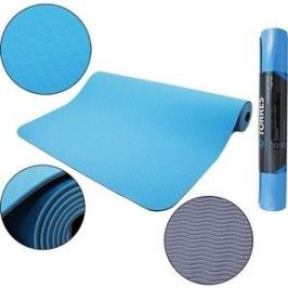 Коврик для йоги Torres Comfort 4, TPE 4 мм, сине-серый
