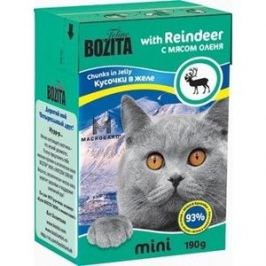 Консервы BOZITA MINI Chunks in Jelly with Reindeer кусочки в желе с мясом оленя для кошек 190г (2102)