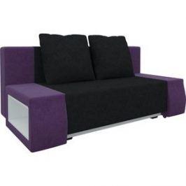 Диван-еврокнижка Мебелико Чарли люкс микровельвет черно-фиолетовый