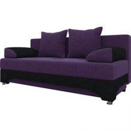 Диван-еврокнижка Мебелико Ник-2 микровельвет фиолетово-черн