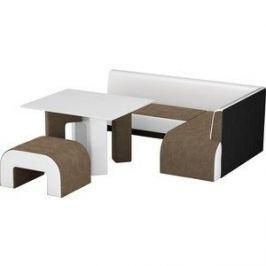 Кухонный уголок Мебелико Кармен микровельвет коричнево-белый правый
