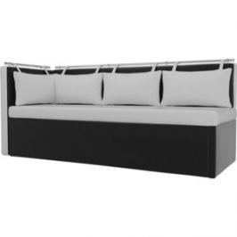 Кухонный угловой диван Мебелико Метро эко-кожа бело-черный угол левый