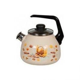 Чайник эмалированный со свистком 3.0 л СтальЭмаль Хлеб 4с209я