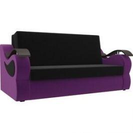 Прямой диван АртМебель Меркурий вельвет черный/фиолетовый (120)