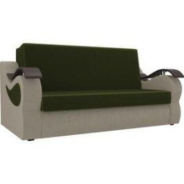 Прямой диван АртМебель Меркурий вельвет зеленый/бежевый (100)