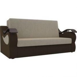 Прямой диван АртМебель Меркурий вельвет бежевый/коричневый (100)