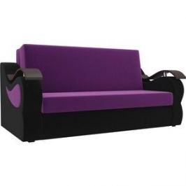 Прямой диван АртМебель Меркурий вельвет фиолетовый/черный (100)