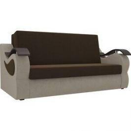 Прямой диван АртМебель Меркурий вельвет коричневый/бежевый (100)