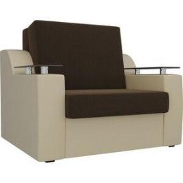 Кресло-кровать АртМебель Сенатор микровельвет коричневый экокожа бежевый (60)