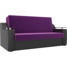 Прямой диван АртМебель Сенатор микровельвет фиолетовый экокожа черный (120) аккордеон