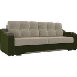Прямой диван АртМебель Браун микровельвет бежевый/зеленый