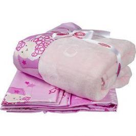Комплект детского постельного белья Hobby home collection поплин с покрывалом LITTLE SHEEP, розовый, 100% Хлопок, Покрывало - 100% Полиэстер