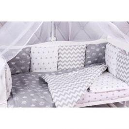 Комплект в кроватку AmaroBaby 15 предметов (3+12 подушек-бортиков) ROYAL BABY серый (бязь)
