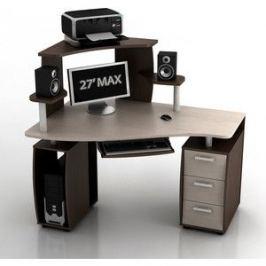 Стол компьютерный ТД Ная Угловой КС-14У Ибис+КН-1 комби венге столешница и ящики дуб беленый
