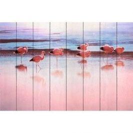 Картина на дереве Дом Корлеоне Фламинго на берегу реки 40x60 см