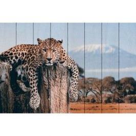 Картина на дереве Дом Корлеоне Леопард в прериях 120x180 см