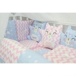 Комплект в кроватку By Twinz с игрушками Котики розово-голубой, 4 предм.