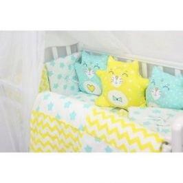 Комплект в кроватку By Twinz с игрушками Котики мята-желтый, 4 предм.