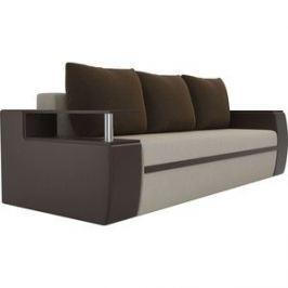 Прямой диван АртМебель Майами микровельвет бежевый/экокожа коричневый подушки микровельвет коричневый