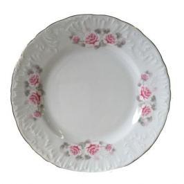 тарелка обеденная Рококо Бледная Роза отводка платиной 25см, фарфор