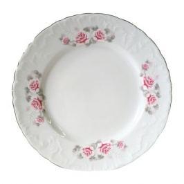 тарелка десертная Рококо Бледная Роза отводка платиной, 17см, фарфор