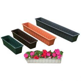 ящик балконный FLORA-TEC, 60х17х15 см, пластик, цвет: зеленый
