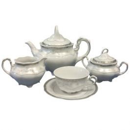 сервиз чайный CMIELOW Болеро платина/серебро 6/15 фарфор