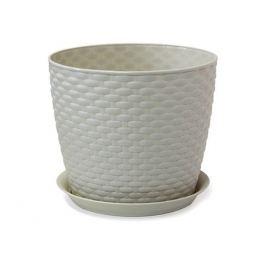 кашпо с поддоном РОТАНГ, диаметр 210 мм, 4,7 л, белый