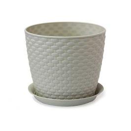 кашпо с поддоном РОТАНГ, диаметр 180 мм, 3 л, белый