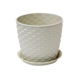 кашпо с поддоном РОТАНГ, диаметр 135 мм, 1 л, белый