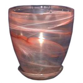 горшок с поддоном, диаметр 15,5 см, высота 16 см, стекло, розовый