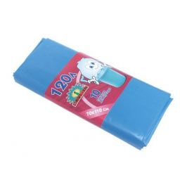 пакеты для мусора 10 шт, 120 л, 70х97 см, 40 мкм, голубые, полиэтилен
