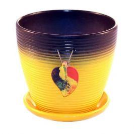 горшок керамический с поддоном Листок, 2,4 л, желтый