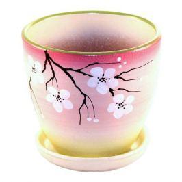 горшок керамический с поддоном Сакура, 1,4 л, розовый