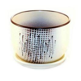 горшок керамический с поддоном Волны, 1.05 л, бежевый