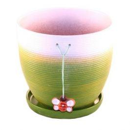 горшок керамический с поддоном Пчелка, 4,7 л, резной, зеленый