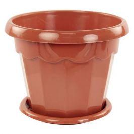 горшок с поддоном Гармония, 4 л, пластик, коричневый