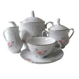 сервиз чайный Рококо Бледная роза отводка платиной 6/15 фарфор