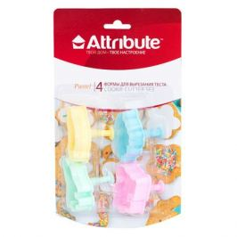 набор форм ATTRIBUTE Pastel 4шт. д/вырезания теста пластик