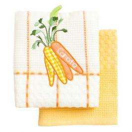комплект полотенец кухонных BONITA ваф. с вышивкой Морковь 45х70см 2шт белый/желтый, арт.0101310055