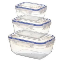 набор контейнеров STARPLAST, 3 шт: 0,4 л, 0,8 л, 1,4 л, пластик, прямоугольные, с 4-мя замками