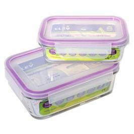 набор контейнеров ELEY, 2 шт: 0,4 л, 0,88 л, жаропрочное стекло, пластик, прямоугольные, С 4-мя замками