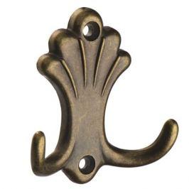 крючок 2-х рожковый ЦАМ оксидированная, бронза, лепесток