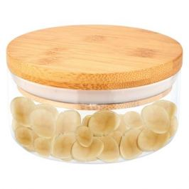 банка для продуктов MALLONY Bambu 0,28 л, круглая, стеклянная