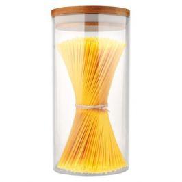 банка для продуктов MALLONY Bambu 1,3 л, круглая, стеклянная