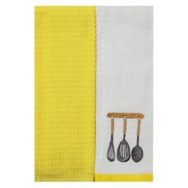 комплект полотенец кухонных TAC махр. с вышивкой Посуда 40х60см 2шт белый/желтый, арт.5010-42051