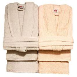 комплект банный TAC халат махр. 2шт р-р 46,48,полотенца 2шт 50х90см,2шт 85х150см персиковый/бежевый